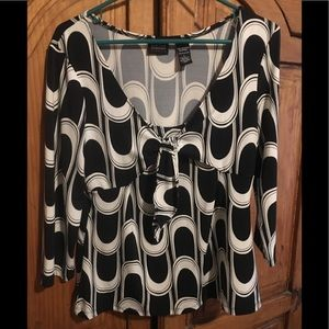 Ladies black and white front tie blouse